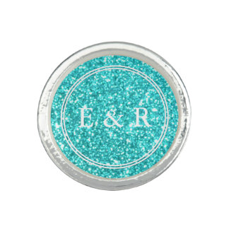 Aqua Blue Glitter with White Details Photo Rings