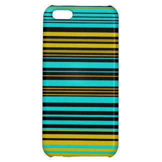 Aqua blue gold and black stripes iPhone 5C cases