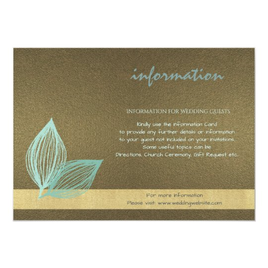 AQUA BLUE GOLD LEAF MOTIVE Information Card