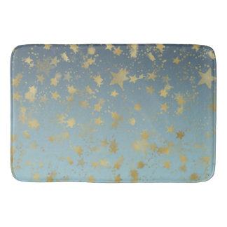 Aqua Blue Gold Ombre Stars Bath Mat