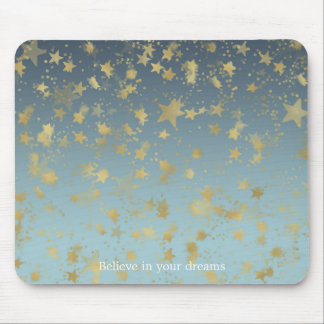 Aqua Blue Gold Ombre Stars Believe in your Dreams Mouse Pad