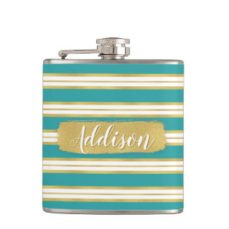 Aqua Blue Gold Stripe Pattern Custom Name Hip Flask