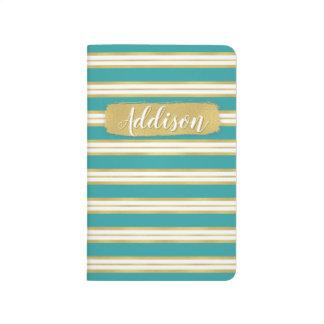 Aqua Blue Gold Stripe Pattern Custom Name Journal