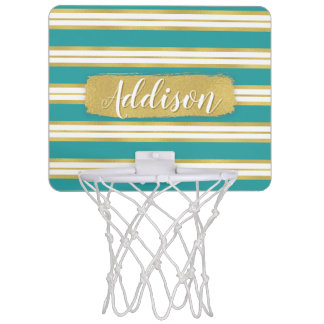 Aqua Blue Gold Stripe Pattern Custom Name Mini Basketball Hoop