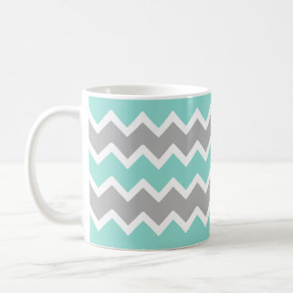 Aqua Blue Gray Gray Chevron Zigzag Print Pattern Coffee Mug