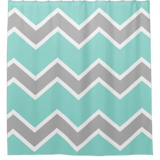 Aqua Blue Gray Grey Chevron Print Pattern Girl