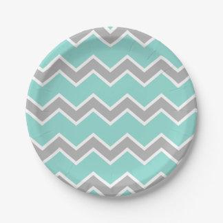Aqua Blue Gray Grey Chevron Print Pattern Girl 7 Inch Paper Plate
