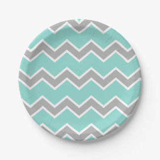 Aqua Blue Gray Grey Chevron Print Pattern Girl Paper Plate