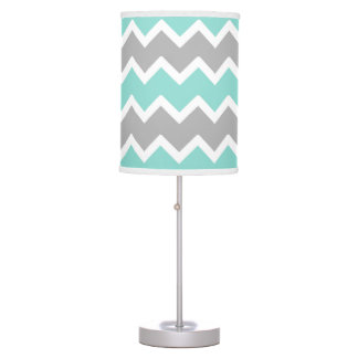 Aqua Blue Gray Grey Chevron Print Pattern Girl Table Lamp