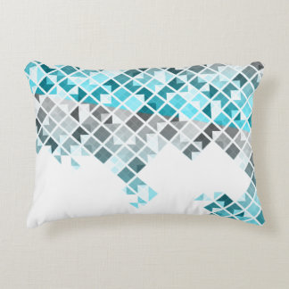Aqua Blue, Gray & White Geometric Pattern Accent Pillow