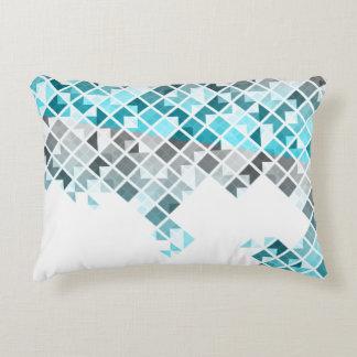 Aqua Blue, Gray & White Geometric Pattern Decorative Pillow