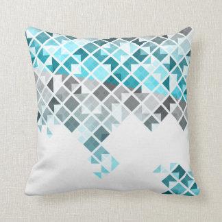 Aqua Blue, Gray & White Geometric Pattern Throw Pillow