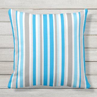 Aqua Blue Gray White Outdoor Indoor Throw Pillow