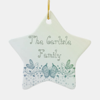 Aqua Blue Green Delicate Butterfly Ceramic Star Ornament