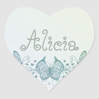 Aqua Blue Green Delicate Butterfly Heart Sticker