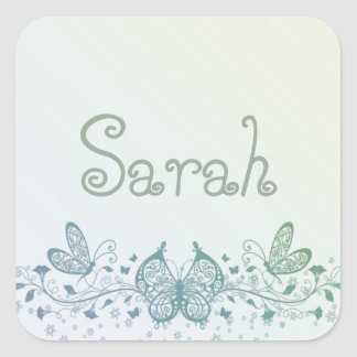 Aqua Blue Green Delicate Butterfly Square Sticker