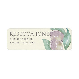 AQUA BLUE GREEN WATERCOLOUR FOLIAGE OLIVE ADDRESS