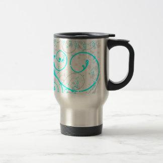aqua blue grey flourish swirls travel coffee mug