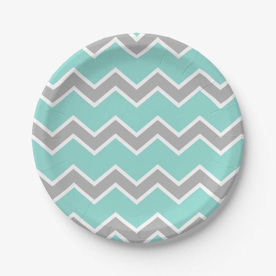 Aqua Blue Grey Grey Chevron Print Pattern Girl Paper Plate