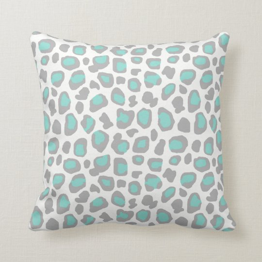 Aqua Blue Grey Grey Leopard Animal Print Pattern Throw Pillow