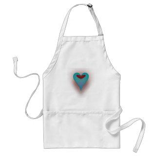 Aqua Blue heart Standard Apron