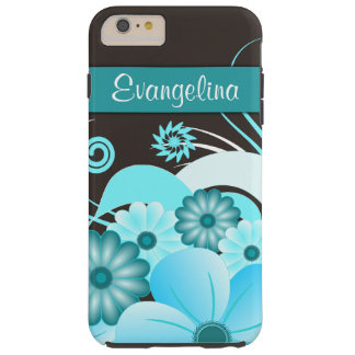 Aqua Blue Hibiscus Floral iPhone 6 6S Plus Tough Tough iPhone 6 Plus Case