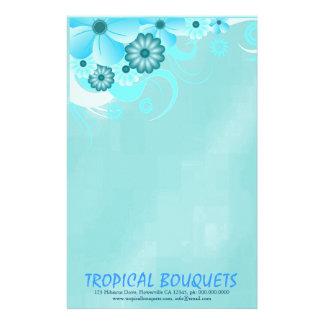 Aqua Blue Hibiscus Florist Stationery Paper