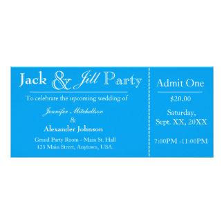 Aqua Blue Jack and Jill Shower Ticket Invitation Customized Rack Card