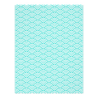 Aqua blue Japaneese waves scrapbook or craft paper