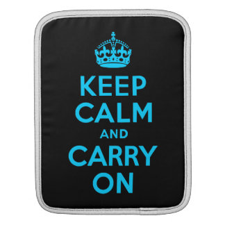 Aqua Blue Keep Calm and Carry On iPad Sleeve