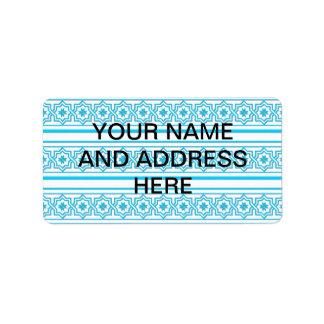"Aqua blue ""lace"" background address label"