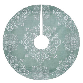 Aqua Blue & Lace Snowflake Design Tree Skirt Brushed Polyester Tree Skirt