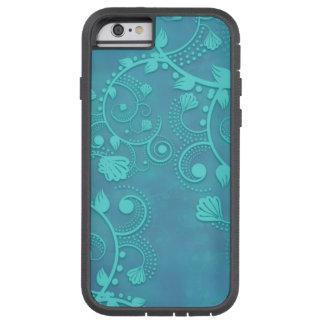 Aqua Blue Lacy Damask Floral Design Tough Xtreme iPhone 6 Case