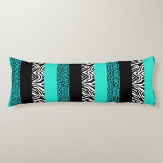 Aqua Blue Leopard and Zebra Animal Print Body Pillow