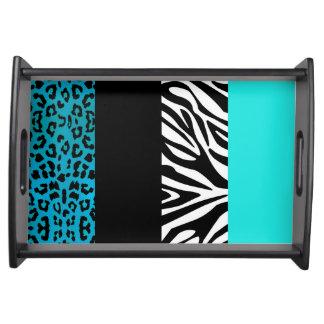 Aqua Blue Leopard and Zebra Animal Print Serving Platter