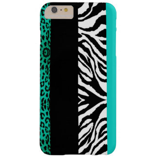 Aqua Blue Leopard and Zebra Custom Animal Print Barely There iPhone 6 Plus Case