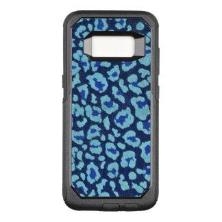 Aqua Blue Leopard Spots Ultrasuede Look OtterBox Commuter Samsung Galaxy S8 Case