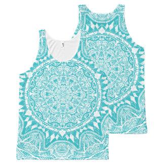 Aqua Blue Mandala Pattern All-Over-Print Tank Top