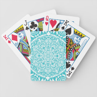 Aqua Blue Mandala Pattern Bicycle Playing Cards
