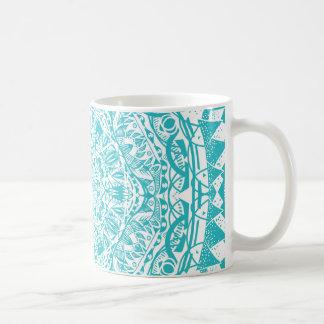 Aqua Blue Mandala Pattern Coffee Mug