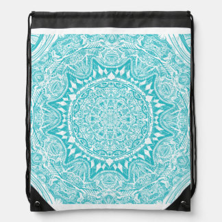 Aqua Blue Mandala Pattern Drawstring Bag