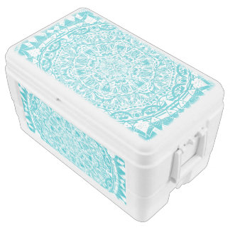 Aqua Blue Mandala Pattern Ice Chest