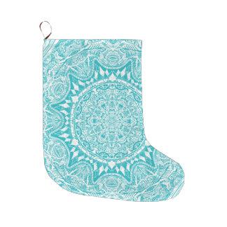 Aqua Blue Mandala Pattern Large Christmas Stocking