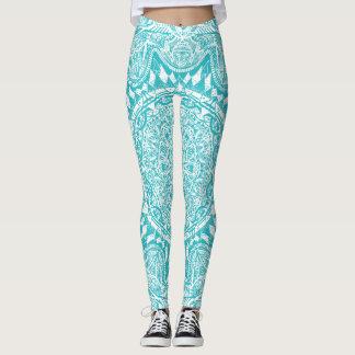 Aqua Blue Mandala Pattern Leggings