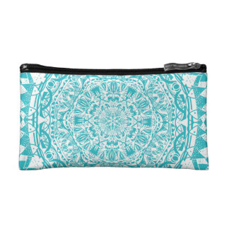 Aqua Blue Mandala Pattern Makeup Bag