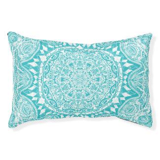 Aqua Blue Mandala Pattern Pet Bed