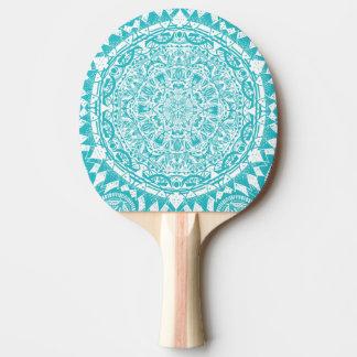 Aqua Blue Mandala Pattern Ping Pong Paddle