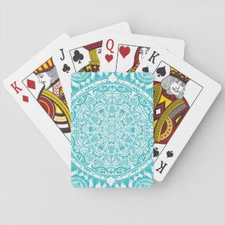 Aqua Blue Mandala Pattern Playing Cards