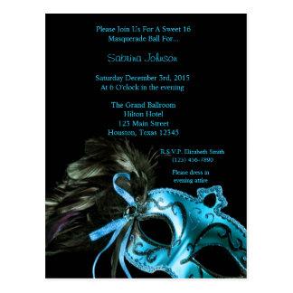 Aqua Blue Masquerade Ball Sweet Sixteen Birthday Postcard