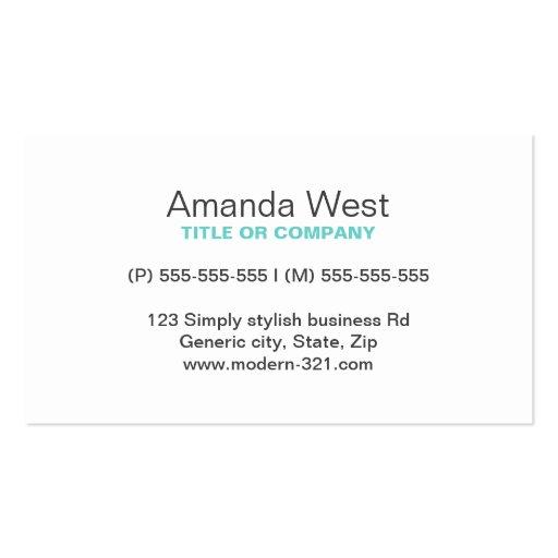 Aqua blue modern generic simple elegant personal business card
